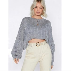 🆕{Nasty Gal} Got Cable Knit Cropped Sweater